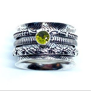 Peridot Artisan 925 Sterling Silver Spinner Ring